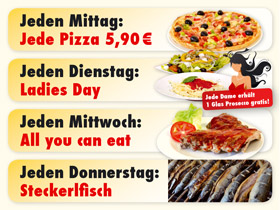 Aktionstage in der PizzaStube Landshut: Mittagspizza, Ladies Day, All you can eat (Spareribs-Mittwoch), Steckerlfisch