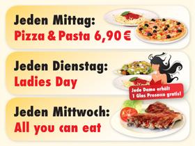 Aktionstage in der PizzaStube Landshut: Mittagspizza (Mittagsgericht Montag bis Freitag jede Pizza für 6,50 EUR) Ladies Day, All you can eat (Spareribs am Mittwoch), frisch gegrillter Steckerlfisch